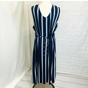 Ulla Popken Dress Maxi 3X Sz 24/26 Blue White
